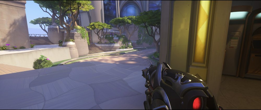 Standard spawn right side defense third point Widowmaker sniping spot Numbani Overwatch.jpg