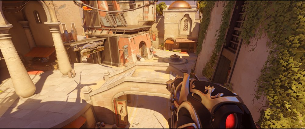 short high ground attack view Widowmaker sniping spot Temple of Anubis Overwatch.jpg