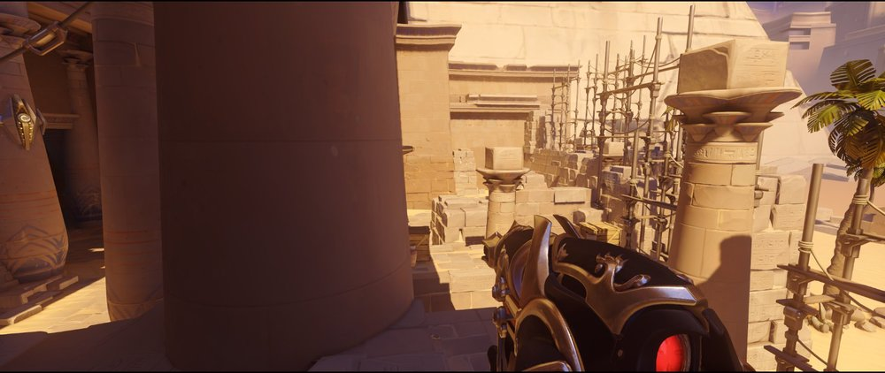 High ground alley right view attack Widowmaker sniping spot Temple of Anubis Overwatch.jpg