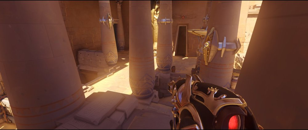 High ground alley left view attack Widowmaker sniping spot Temple of Anubis Overwatch.jpg