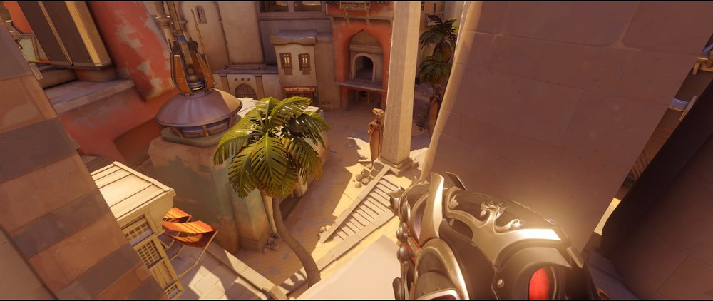 High ground flank view second point defense Widowmaker sniping spots Temple of Anubis Overwatch.jpg