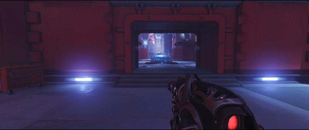 Mid spawn ground level defense sniping spot Widowmaker Volskaya Industries Overwatch.jpg