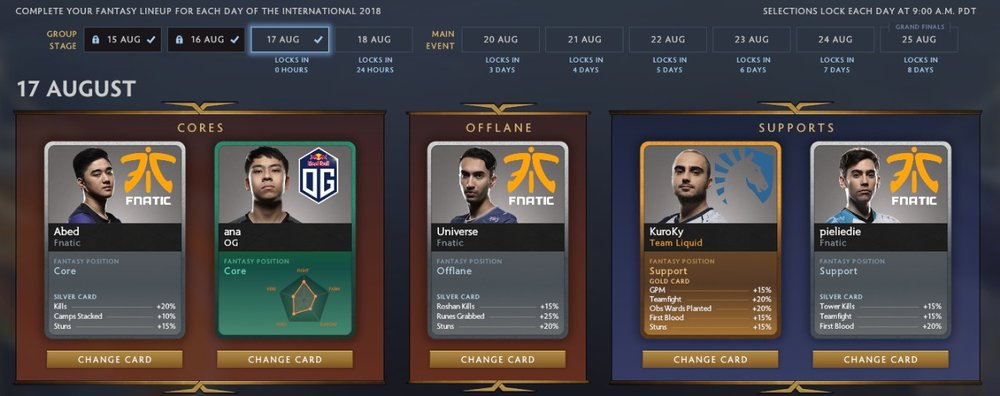 Group Stage day 3 cards.
