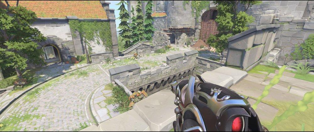 High ground castle walls attack mid sniping spot Widowmaker Einchenwalde Overwatch.jpg