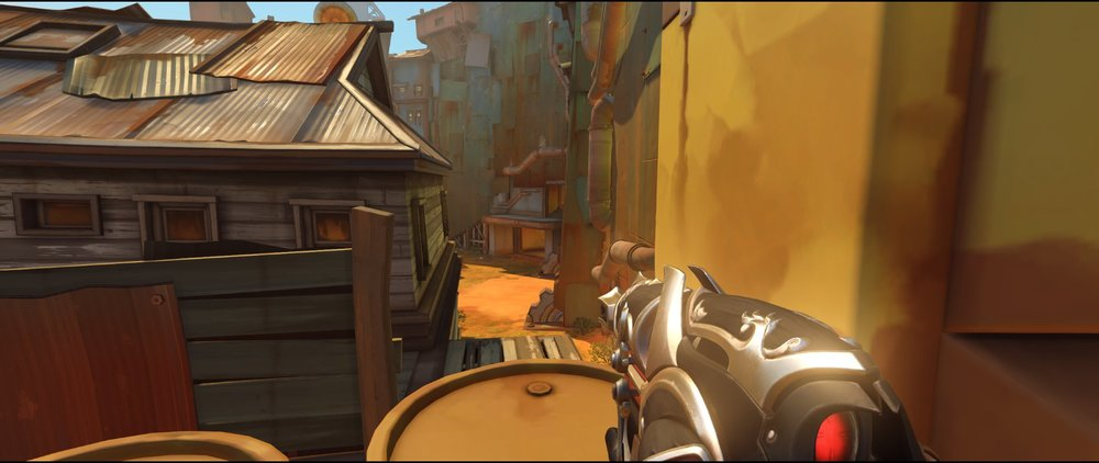 Barrels near cinema attack Widowmaker sniping spot Junkertown.jpg