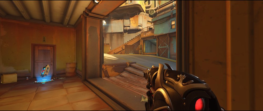 Ground level two P2 attack Widowmaker sniping spot Junkertown.jpg