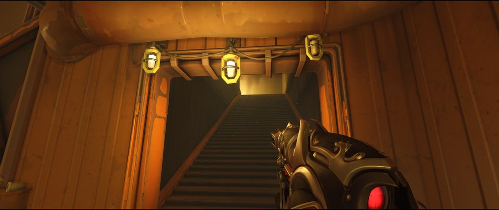 Stairs from first door to Ledge attack Widowmaker sniping spot Junkertown.jpg