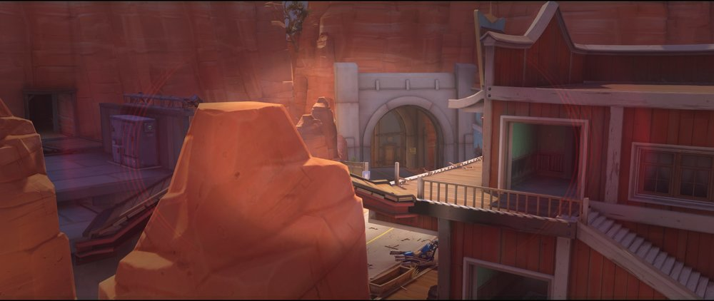 Small roof on catwalk view defense sniping spot Widowmaker Route 66.jpg