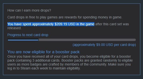 Money spent on the game - Steam