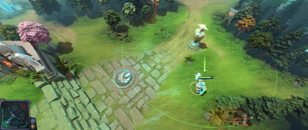Radiant mid lane tier 2 tower placement Dota 720