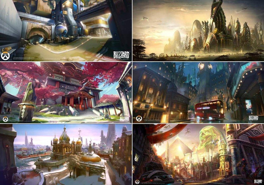 Overwatch maps concept arts - Blizzard