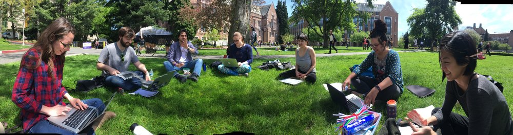 A rare sunny day in Seattle calls for an outdoor session of seminar.