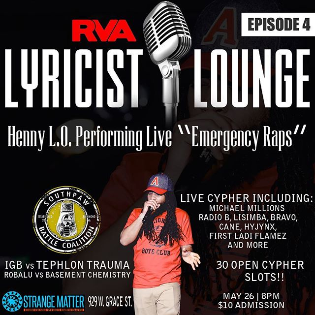 Fuck with @hennyldot this Saturday over at @rvalyricistlounge