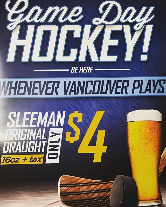 #Canucks #gameday #specials enjoy a $4 @sleemanbeer Original #Draught every day the Canucks play! . . . . . #soho #yaletown #yvr #booze #billiards #poolhall #discoverbc #hockey #nhl #draft #draftbeer #vancouver #vancity #deals #canada #eh #maplesyrup