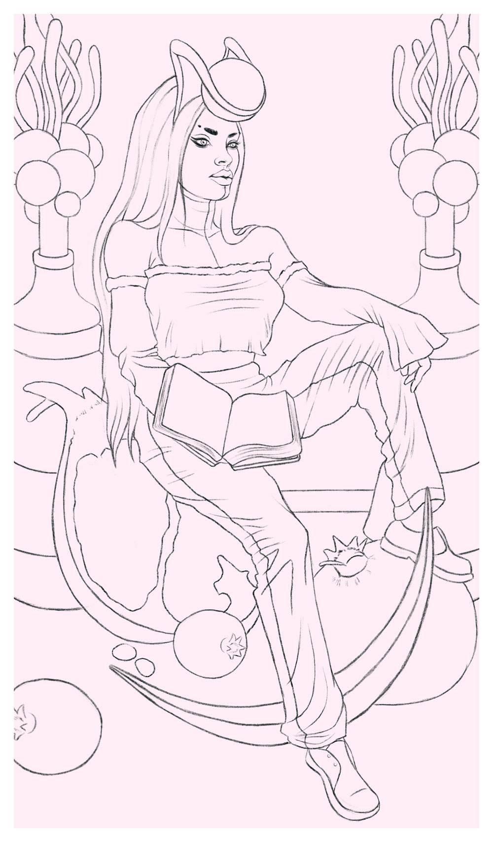 Version 2 sketch of The High Priestess