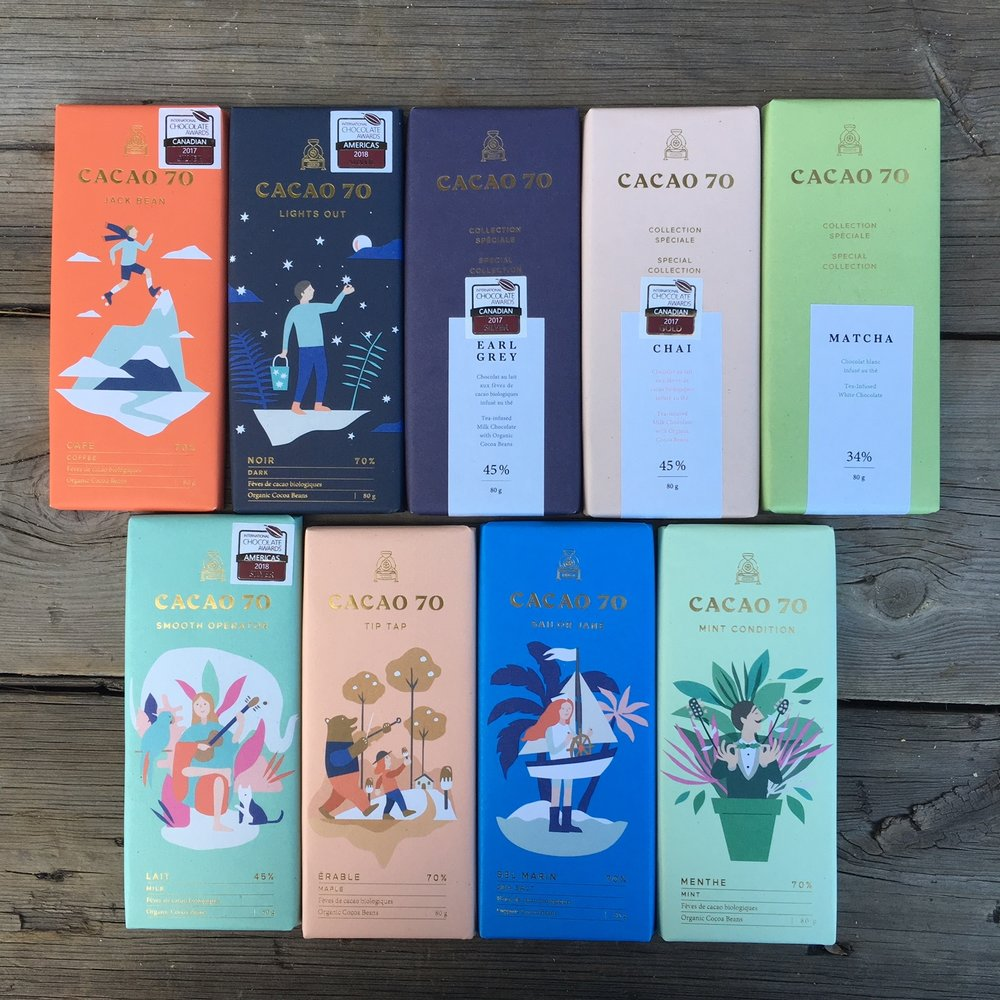Cacao 70 chocolate bars.  We have all 6 chocolate bars from their main line (coffee, maple, mint, sea salt, dark and milk) and 3 special edition bars (earl grey, matcha and chai).  Grab one en route to your next dinner party!