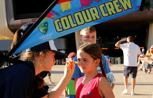 T20 INT: TUESDAY 21 NOV - Big Screen action; GiveawaysPlay Cricket Activity ZoneSydney Thunder bus and MascotsRoving Colour Crew - Face paintingGiant Cricket Ball and #Cricket lettersAutograph signings, after the match