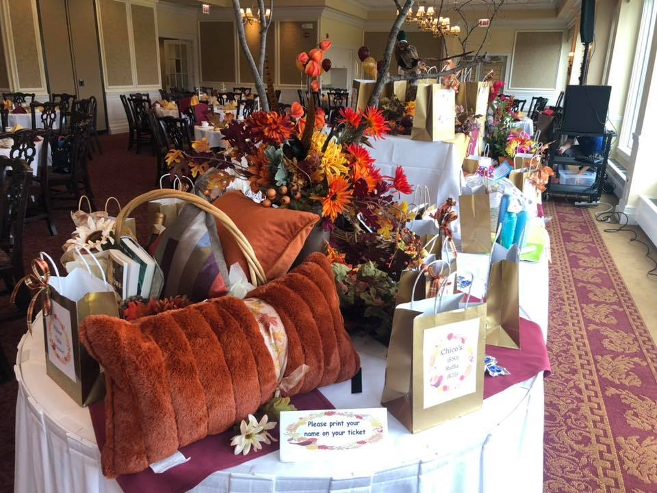 Our festive raffle table.  Save the date for next year Saturday November 2, 2019!