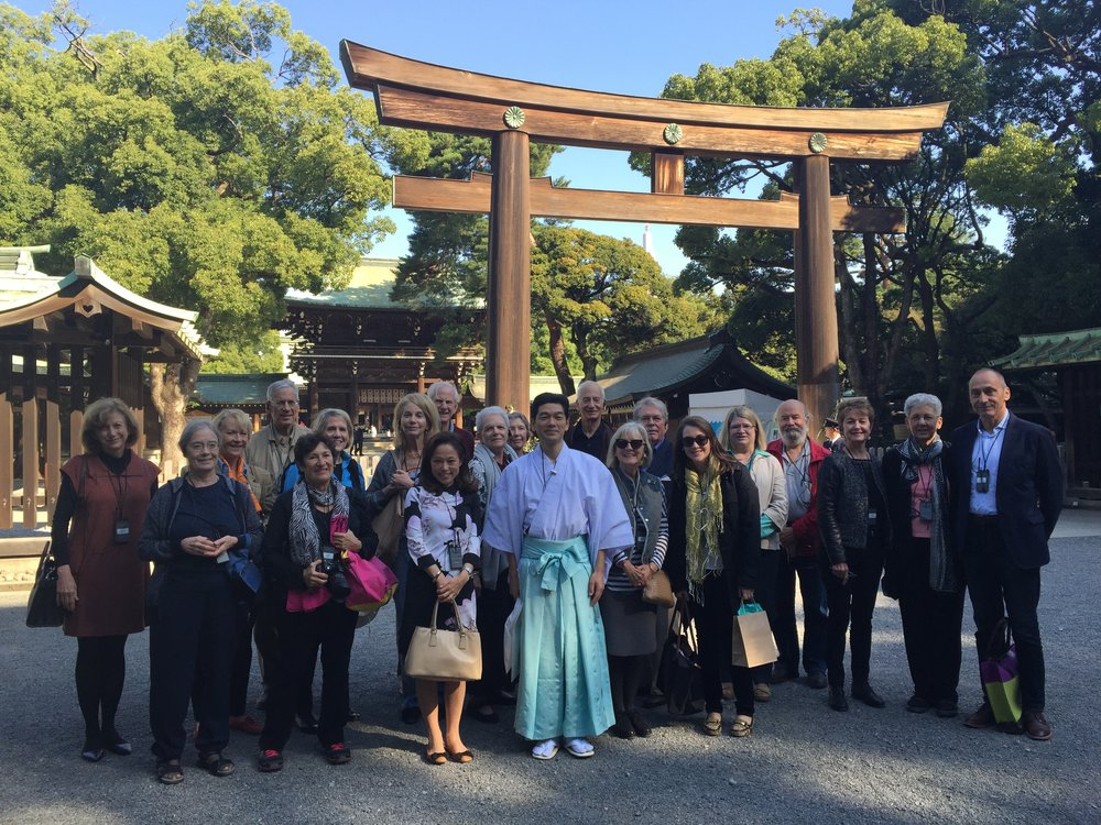 The Phillip's Collection Japan Tour Group outside Meiji Shrine
