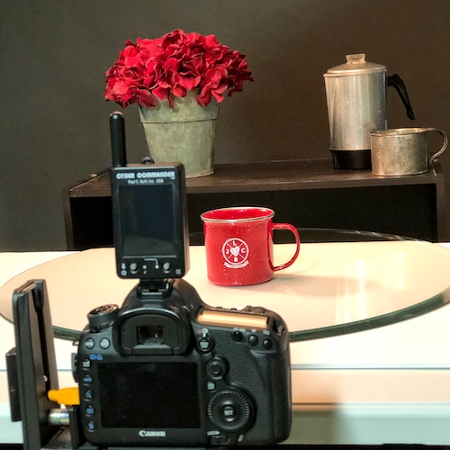 Behind the scenes red coffee cup