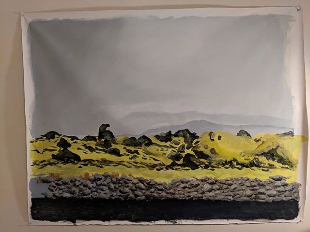 Getting back into this painting after months of it staring at me on the wall. It's based on photo that I took in Iceland. For some reason I was having a hard time getting back to it, but tonight I got unblocked.