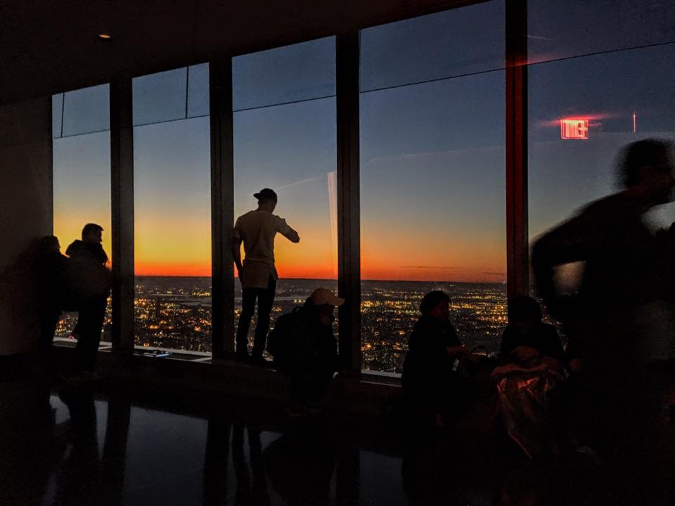 the sunset from the 102nd floor of the one world observatory