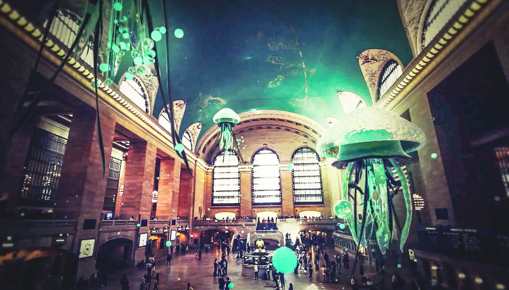 Grand Central Terminal with flying aquatic creatures