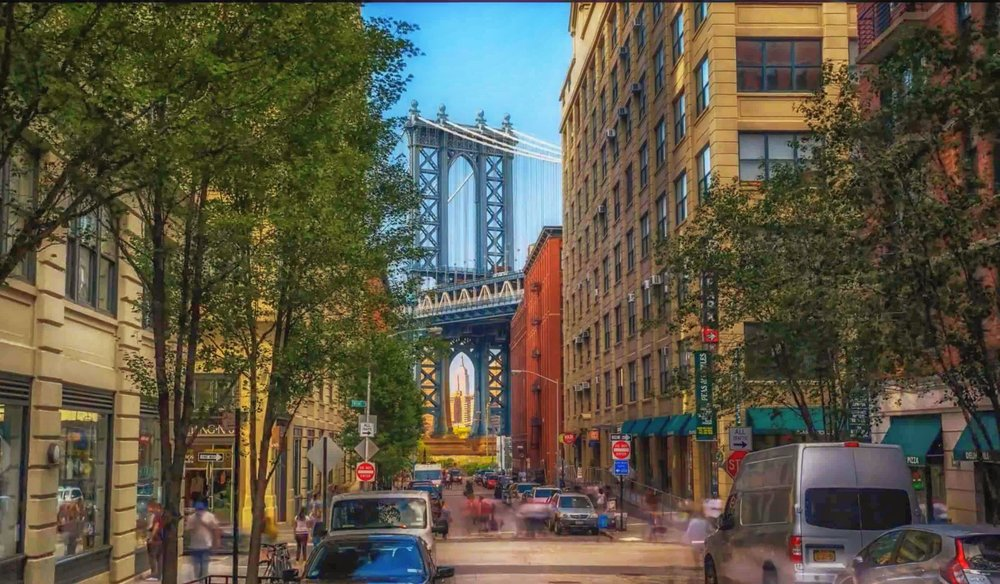 the classic view of washington street in dumbo, brooklyn. photo by lucas compan