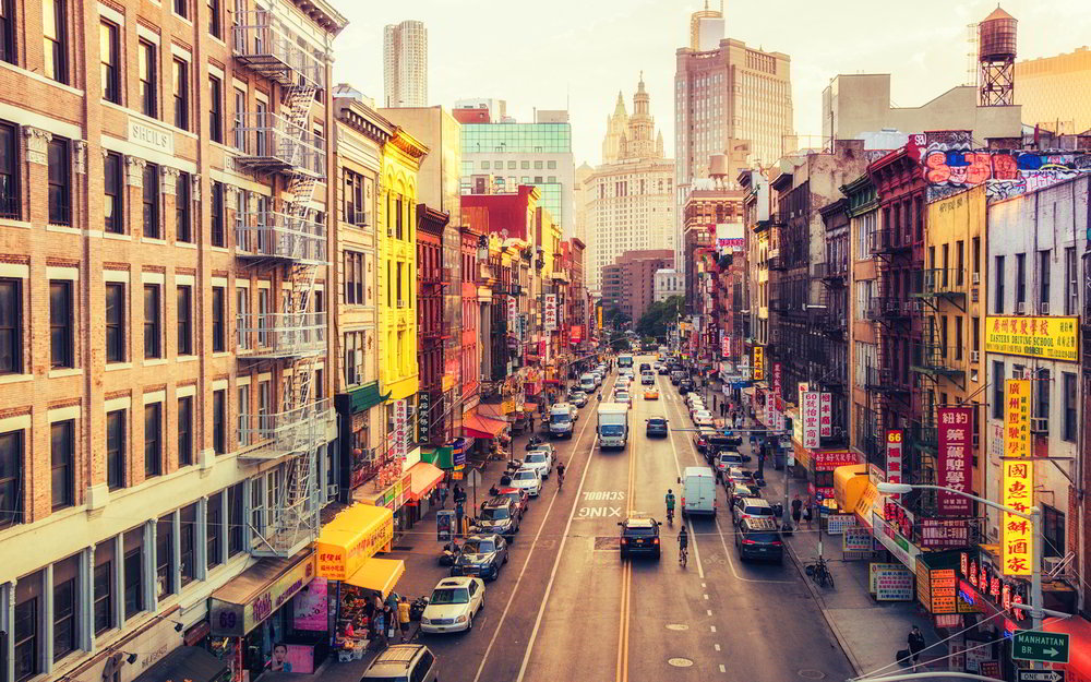 chinatown, manhattan, new york city – pictured from manhattan bridge
