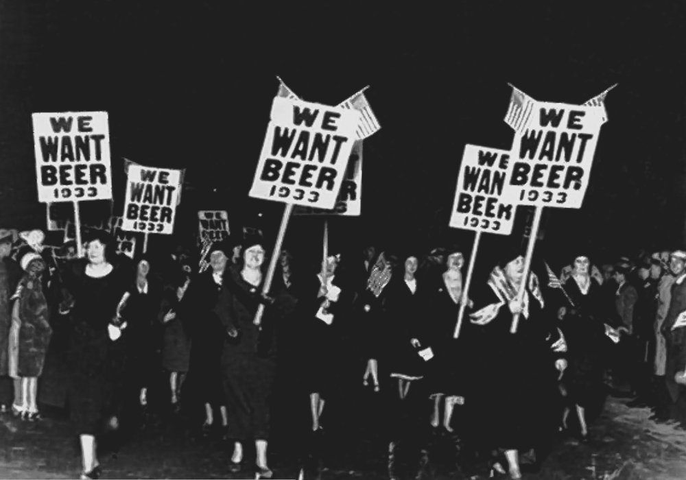 during the prohibition era, tens of thousands of protesters would gather and demonstrate against prohibition. women turned out in large numbers for anti-prohibition parades – this one in the east village. (image: AP)