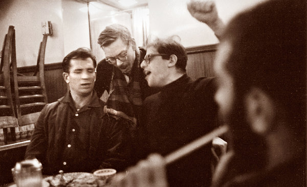 Jack Kerouac, Lucien Carr and Allen Ginsberg in the East Village, 1959. John Cohen/Getty Images
