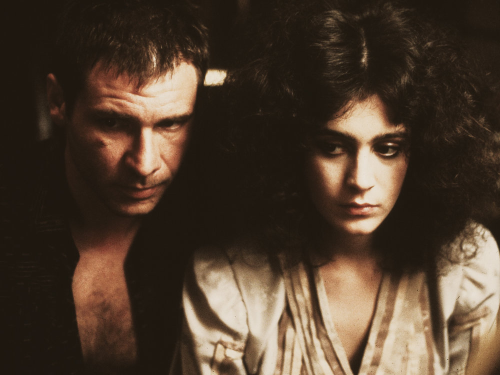 harrison ford (richard decker) and sean young (rachel) in the original version of blade runner (1982)