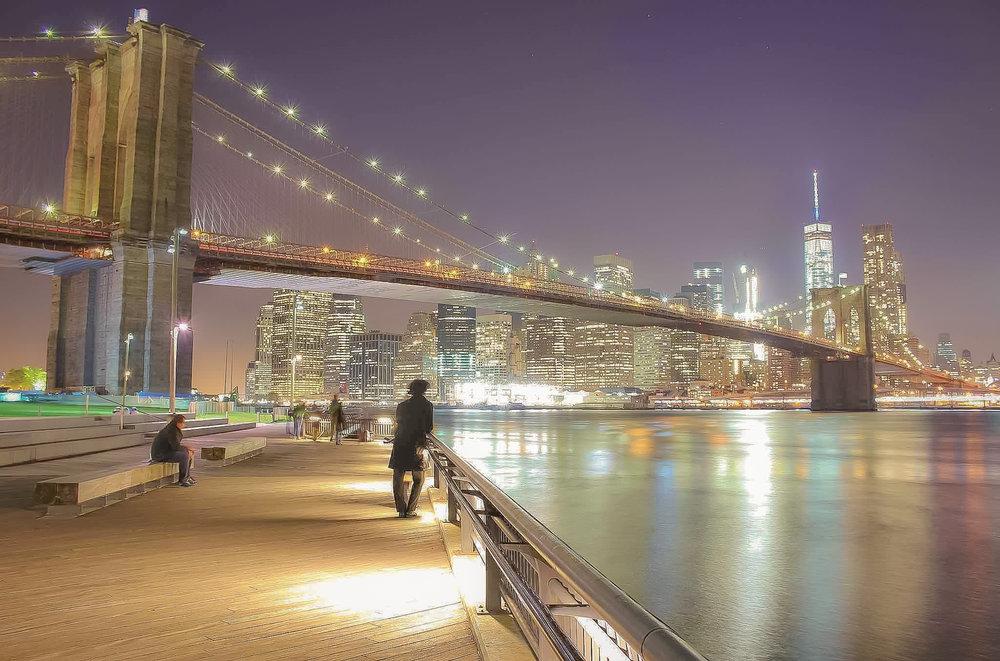 Brooklyn Bridge Park, the Brooklyn Bridge, and One WTC in Lower Manhattan. Photo by Daniel Mirkov