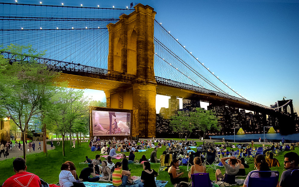 Watching a film with a view in brooklyn brigde park is one of the best things in summertime. photo: courtesy of timeout magazine.
