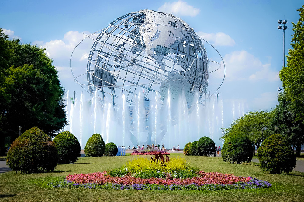 The  Unisphere  is a spherical stainless steel  representation of the Earth , located in  Flushing Meadows–Corona Park  in the  borough  of  Queens ,  New York City . The sphere, which measures 140 feet (43 m) high and 120 feet (37 m) in diameter, was commissioned as part of the  1964 New York World's Fair . [1]  The Unisphere is one of the borough's most iconic and enduring symbols.
