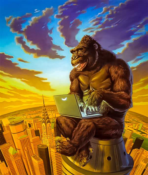 King Kong laughing about this story at the top of the Empire State Building. Image: Sad Broken Teeth Acrylic Painting Design