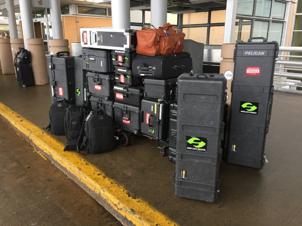 This is our average collection of equipment for travel. Southwest's bag check employees love us!