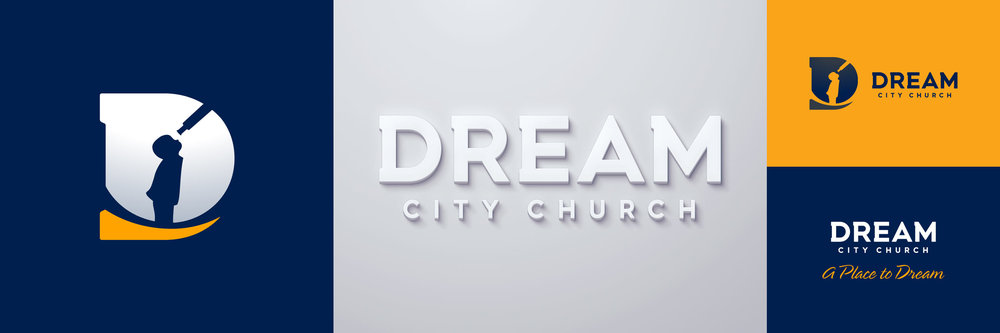 Logomark, logotype, and full brandmark for Dream City Church. Image copyright Jeff Miller, HellothisisJeff Design LLC