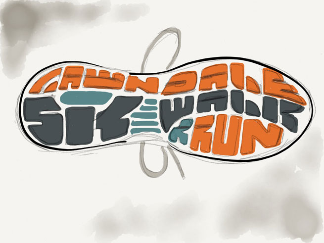 Lawndale 5K original sketch. Image copyright Jeff Miller, HellothisisJeff Design LLC