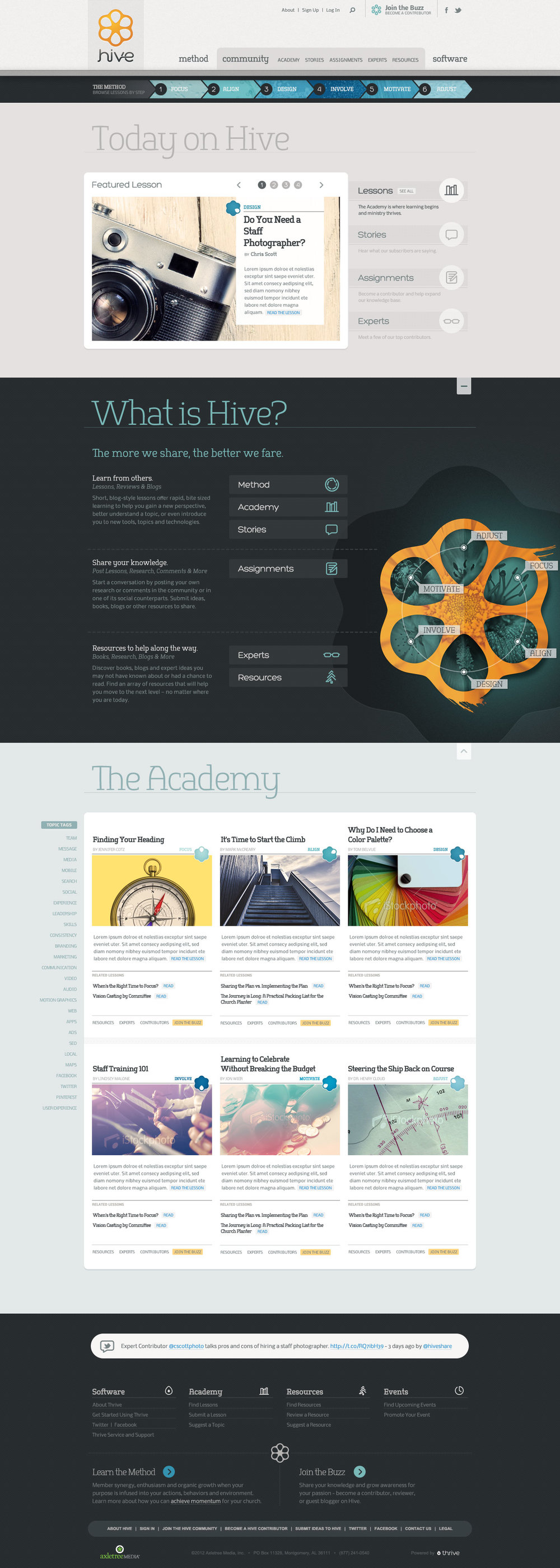 Hive website initial home page design
