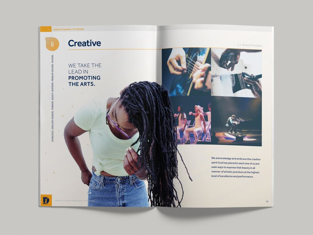 Dream City Church brand guidelines pp18-19. Image copyright Jeff Miller, HellothisisJeff Design LLC