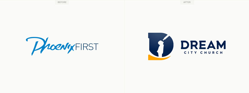 New logo and brand identity, Phoenix First to Dream City Church. Image copyright Jeff Miller, HellothisisJeff Design LLC