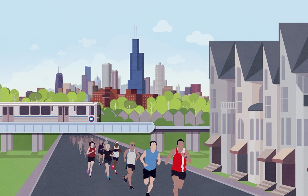 2014 Lawndale 5K city skyline illustration. Image copyright Jeff Miller, HellothisisJeff Design LLC