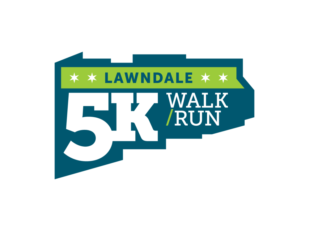 2015 Lawndale 5K official race logo. Image copyright Jeff Miller, HellothisisJeff Design LLC