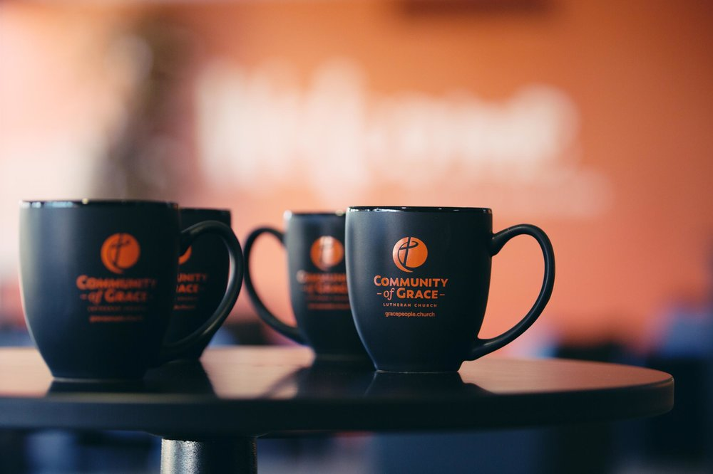 Community of Grace coffee mugs. Image courtesy of Community of Grace Lutheran Church.