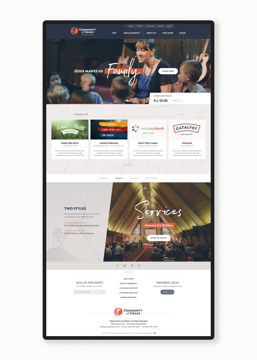 Community of Grace homepage 2