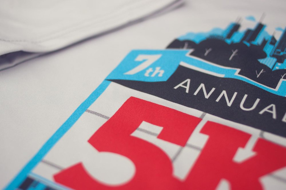 Lawndale 5K tech shirt design screen print detail. Image copyright Jeff Miller, HellothisisJeff Design LLC