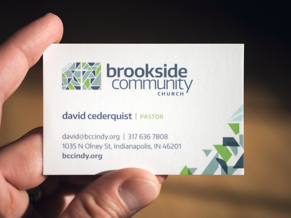 Brookside Community Church business card. Design by Jeff Miller, HellothisisJeff Design