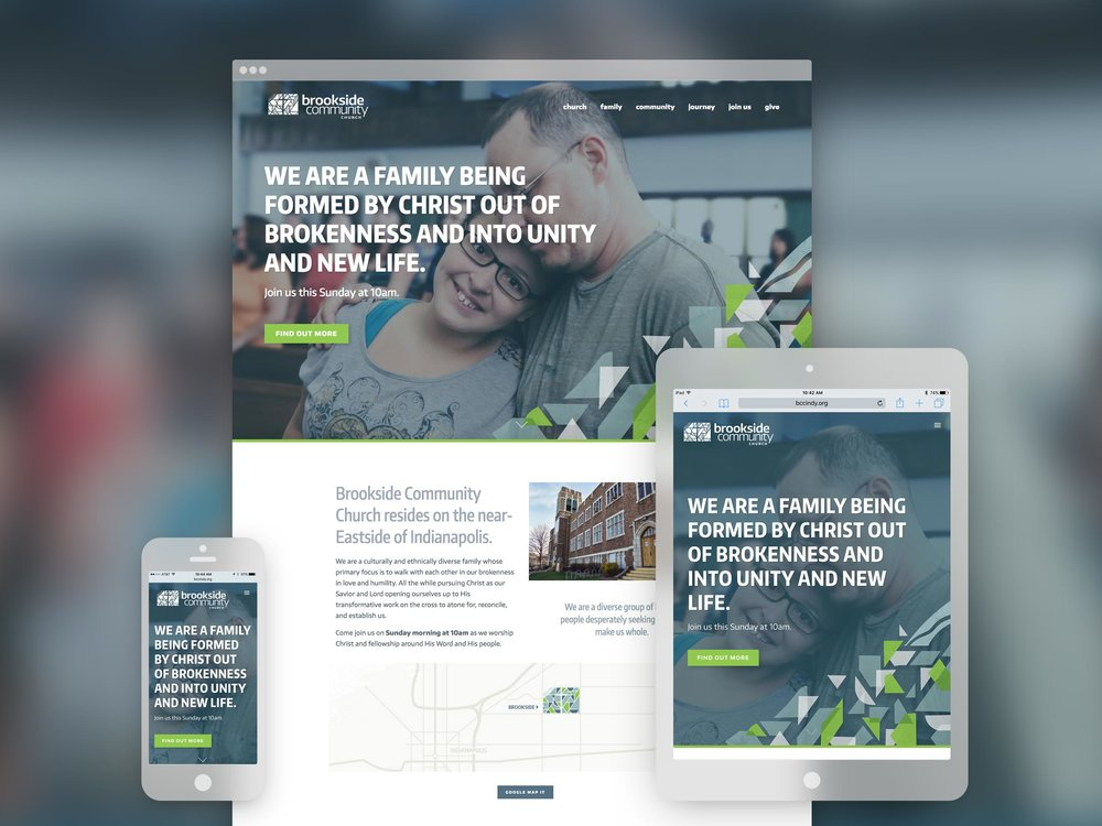 Brookside Community Church responsive website. Design by Jeff Miller, HellothisisJeff Design