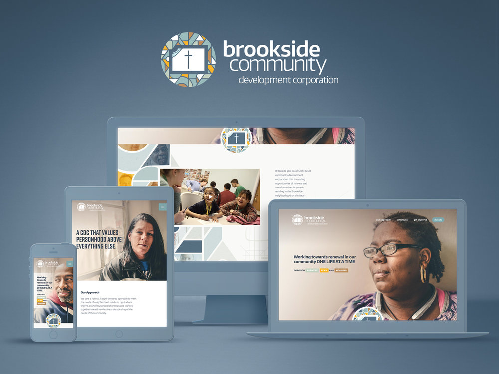 Brookside Community Development Corporation logo and responsive website. Image copyright Jeff Miller, HellothisisJeff Design LLC